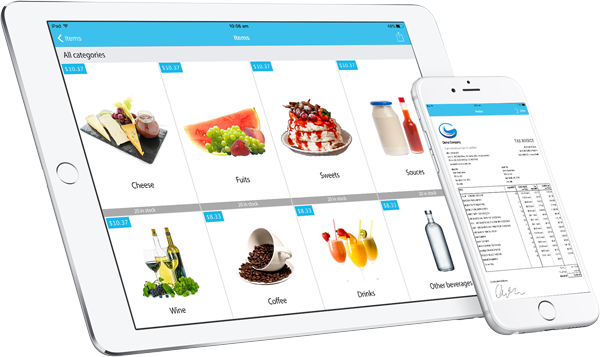SalesIn iPad iPhone - product gallery view and invoice