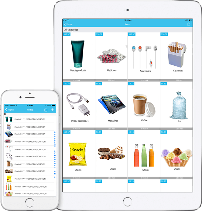 SalesIn iPad and iPhone - product gallery view