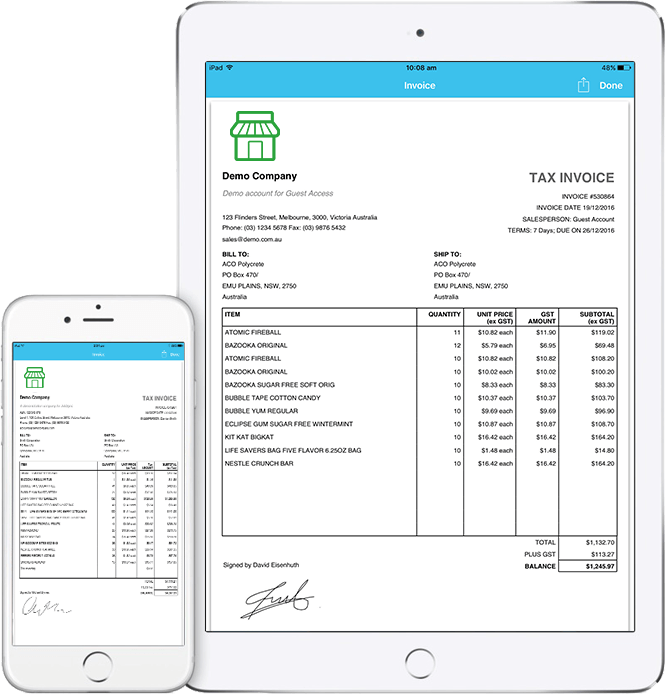 SalesIn iPad and iPhone - invoice