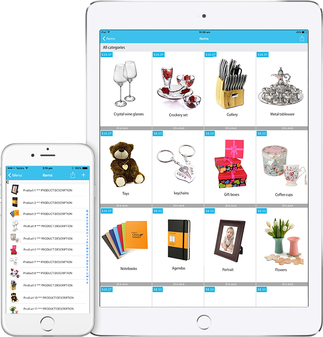 iPad and iPhone - product gallery view