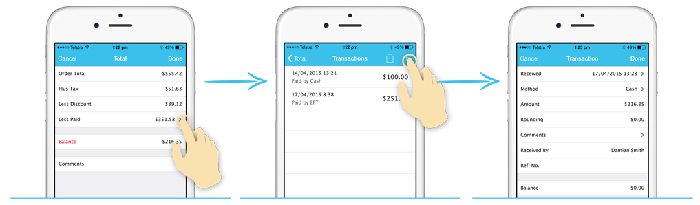 iPhone payment and transaction screens