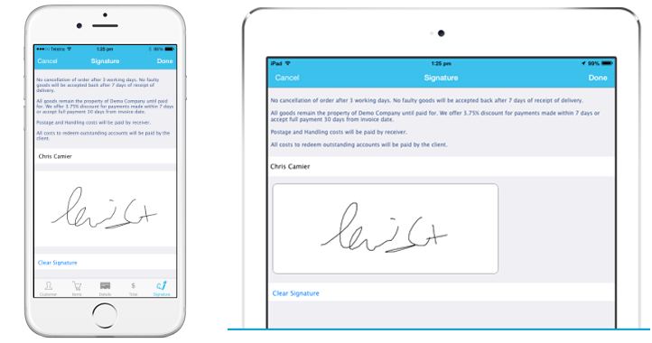 iPad and iPhone - signature