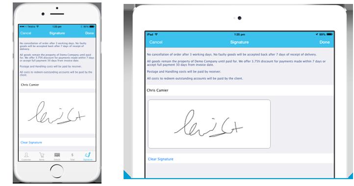 iPad and iPhone - signature